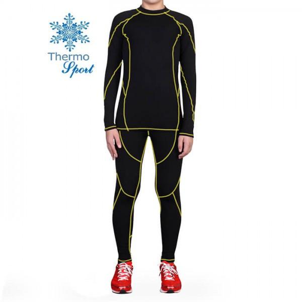 Термобелье мужское FIREPOWER Sport Polarflis-Stretch Черное с желтым