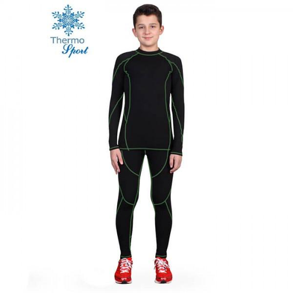 Термобелье детское для мальчиков FIREPOWER Sport Polarflis-Stretch Черное с зеленым