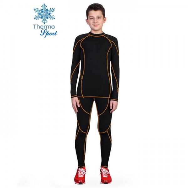 Термобелье детское для мальчиков FIREPOWER Sport Polarflis-Stretch Черное с оранжевым