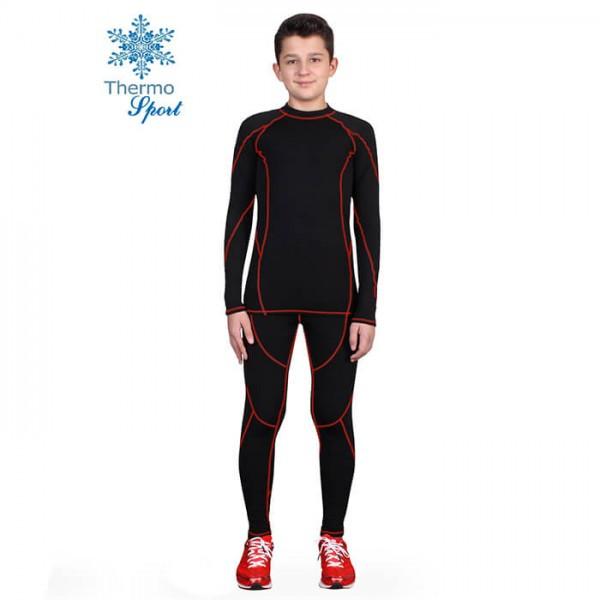 Термобелье детское для мальчиков FIREPOWER Sport Polarflis-Stretch Черное с красным