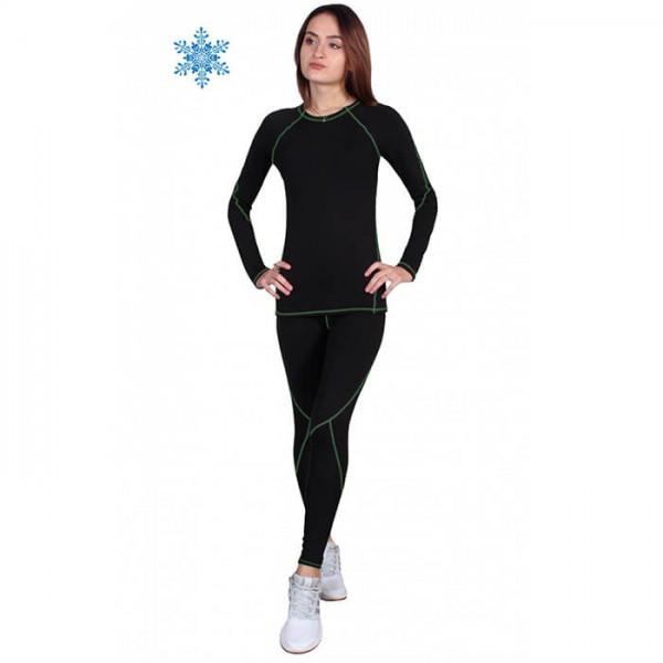 Термобелье женское FIREPOWER Sport Polarflis-Stretch Черное с зеленым