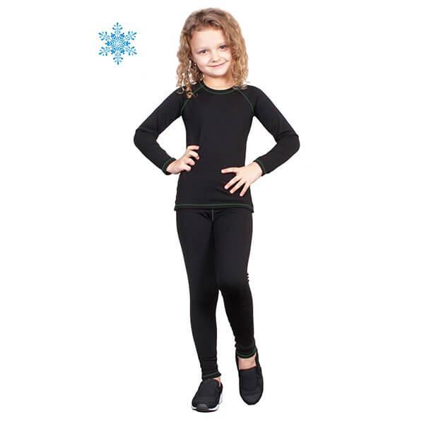 Термобелье детское для девочек FIREPOWER Polarflis-Stretch Черное с зеленым