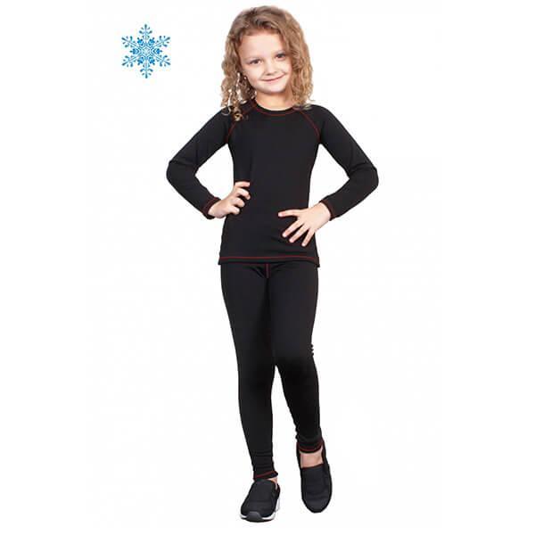 Термобелье детское для девочек FIREPOWER Polarflis-Stretch Черное с красным