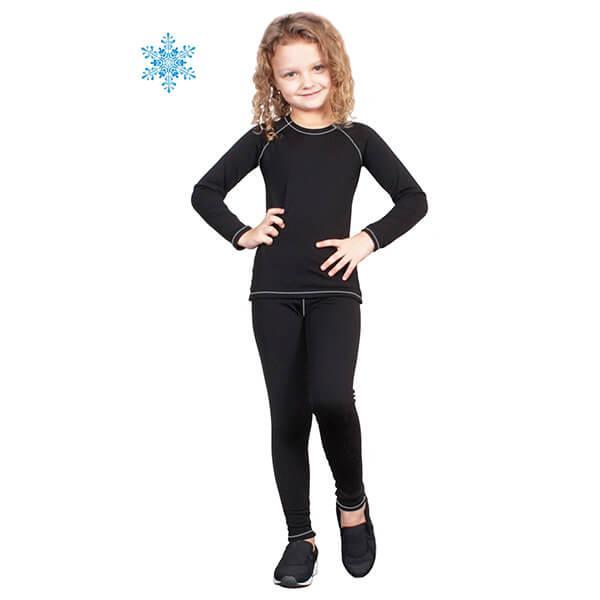 Термобелье детское для девочек FIREPOWER Polarflis-Stretch Черное с белым