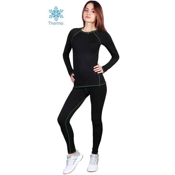 Термобелье женское FIREPOWER Polarflis-Stretch Черное с зеленым