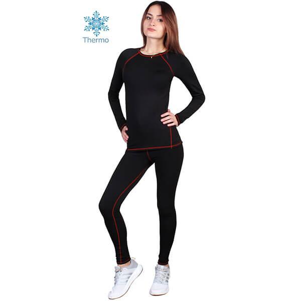 Термобелье женское FIREPOWER Polarflis-Stretch Черное с красным