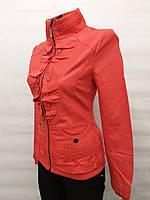 Куртка женская кож-винил красная с вышивкой