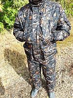 Демисезонный камуфляжный костюм для охоты и рыбалки на флисе темный лес