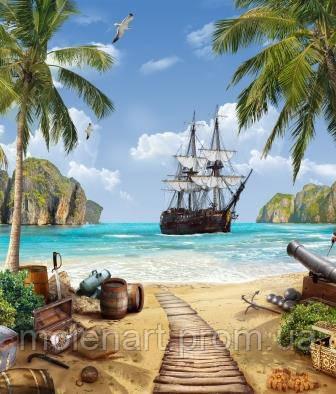 Рисунок для печати фотообоев Берег пиратского островаа 230 х 270 см