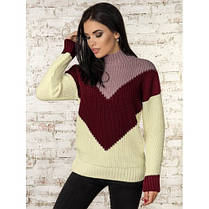 Модный джемпер свитер женский 2019 с узором 42-46 со стойкой , фото 3