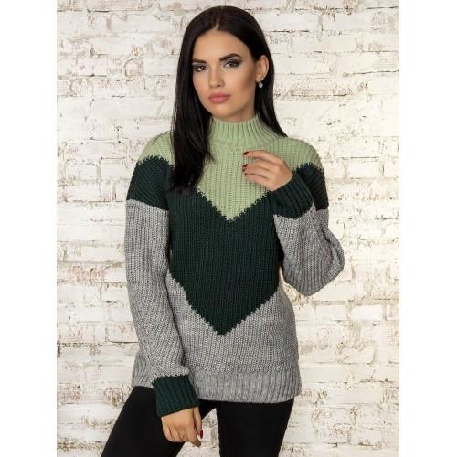 Модный джемпер свитер женский 2019 с узором 42-46 со стойкой