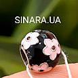 Шарм Пандора серебро с эмалью Розовые цветы , фото 3