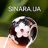 Шарм Пандора серебро с эмалью Розовые цветы