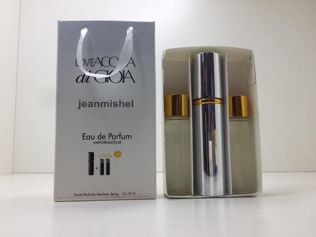Подарунковий набір парфумів жіночий Jeanmishel Acqua di Gioia (Жанмишель Аква ді Джіо) 3 по 15 мл