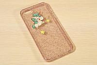 Силиконовый чехол для iPhone 5 / 5S / SE розовый с единорогом
