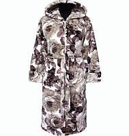 7ad9287fd2b8 Бирюзовый махровый халат на поясе теплый женский домашний зимний велсофт  мягкий с капюшоном Украина 52