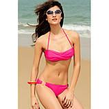 Розовый купальник бикини с металлическими встаками., фото 3