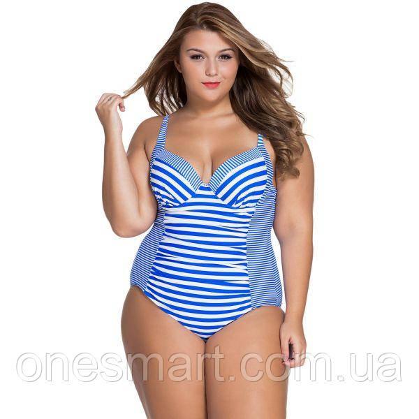 Сдельный полосатый купальник Plus Size