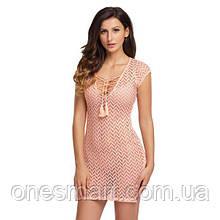 Рожеве пляжне плаття з шнурочком