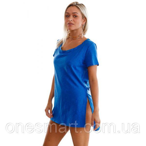 Темно-синяя комфортная футболка с короткими рукавами
