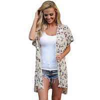 Пляжная одежда с цветочным принтом и короткими рукавами