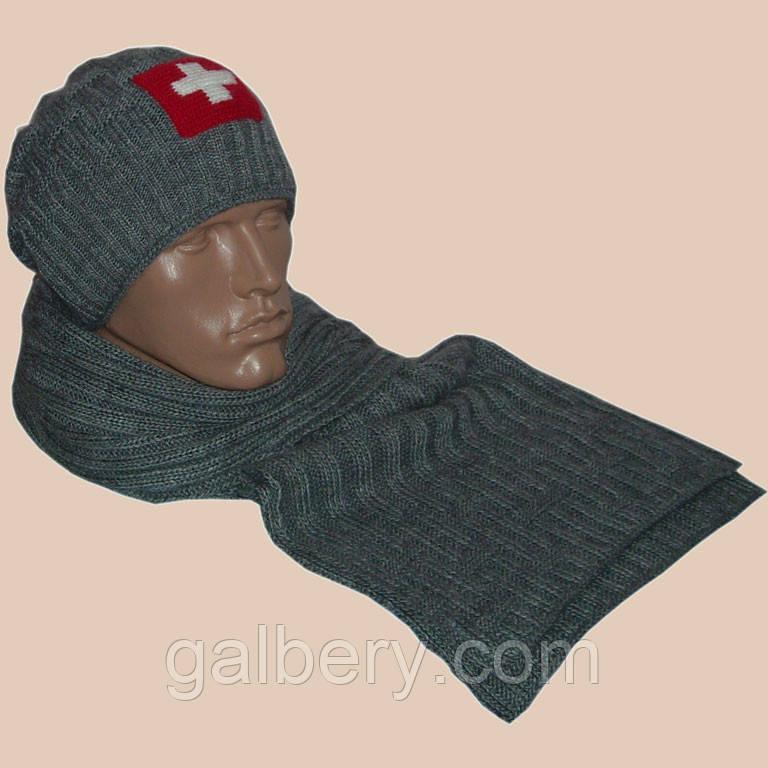Зимняя шапка с орнаментом (утепленный вариант) и шарф