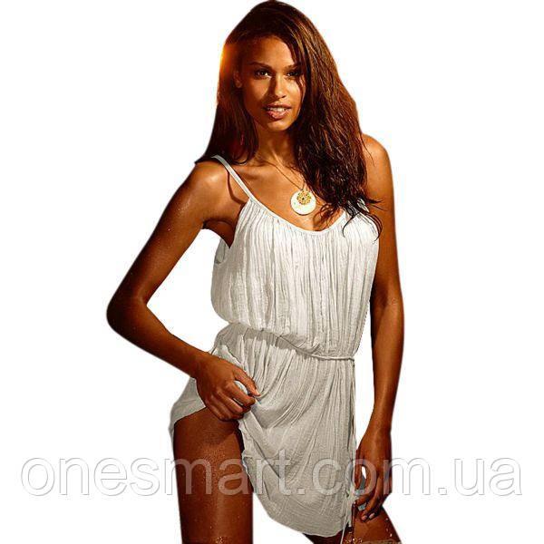 Белое пляжное платье на тонких бретельках