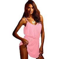 Розовое пляжное платье на тонких бретелях