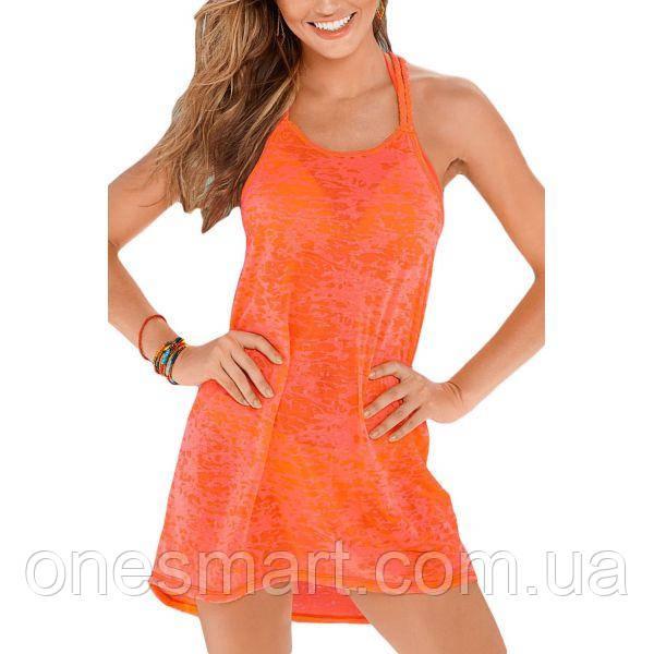 Оранжевое пляжное платье