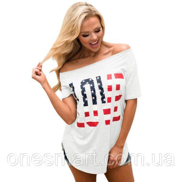 Белый топ с коротким рукавом с американским флагом и принтом LOVE