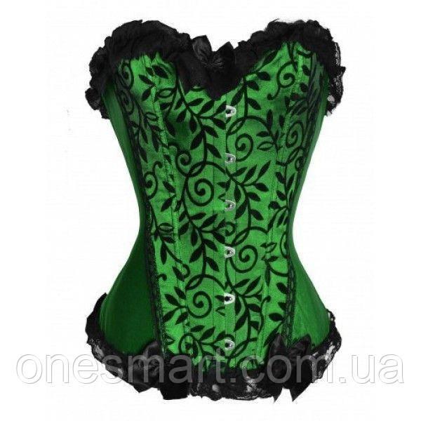 Изящный зеленый корсет с кружевом