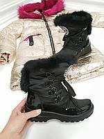 Женские дутики черные шнурок опушка  кролик, фото 1
