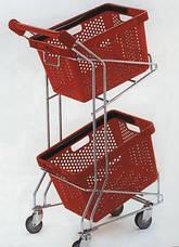 Тележка покупательская Wanzl (серия FLEX U) для 2-х покупательских корзин, оранжевый пластик б/у, фото 3