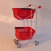 Тележка покупательская Wanzl (серия FLEX U) для 2-х покупательских корзин, оранжевый пластик б/у