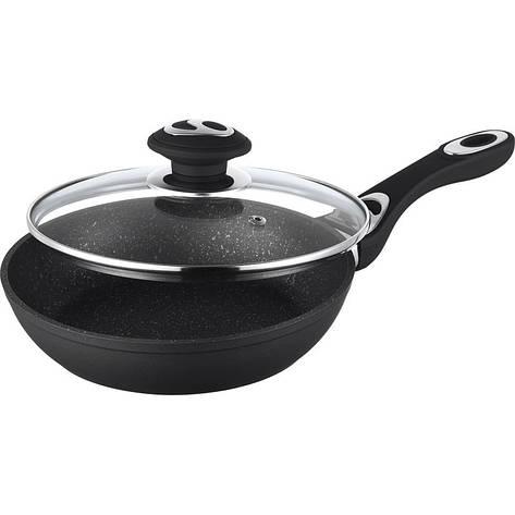 Сковорода Rainstahl литая с мраморным покрытием с крышкой 28 см 9512-28 RS, фото 2