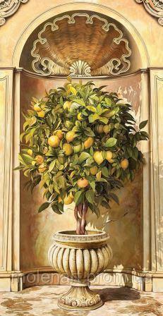 Рисунок для печати фотообоев Ниша с деревом в вазоне 230 х 270 см