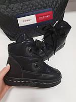 Женские дутики черные  шнурок