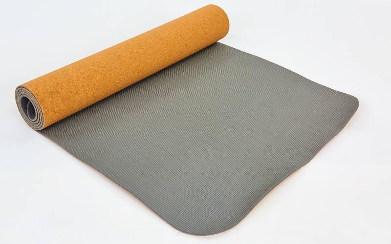 Коврик для йоги пробковый 2-х слойный ZELART (1,83мx0,61мx5мм, пробковое дерево, TPE)