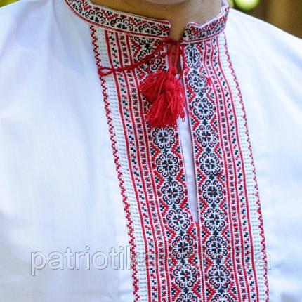 Мужская вышиванка красный орнамент | Чоловіча вишиванка червоний орнамент, фото 2