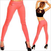 Коралловые однотонные женские штаны дудочки облегающие
