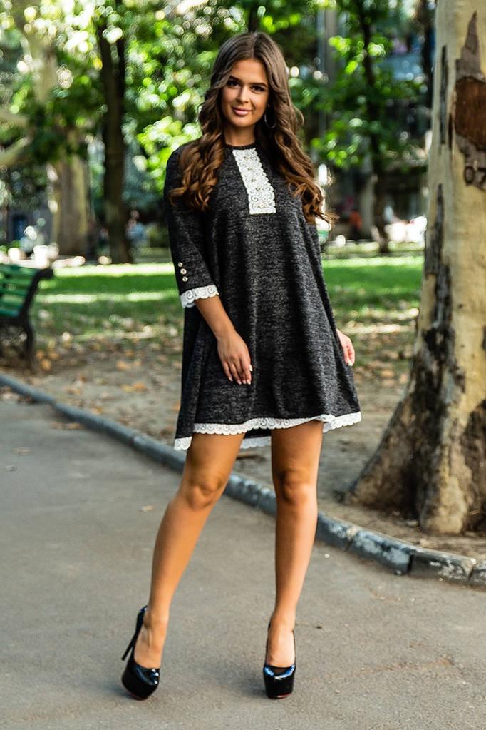 Платье свободного кроя с люрексом, отделка кружевом / 2 цвета  арт 7097-594
