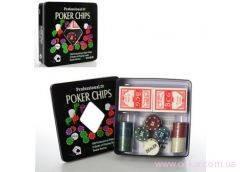 Настольная игра покер, фишки, 2 колоды карт, в мет. кор. 20х20х5см. 3896 А (18) [376241]