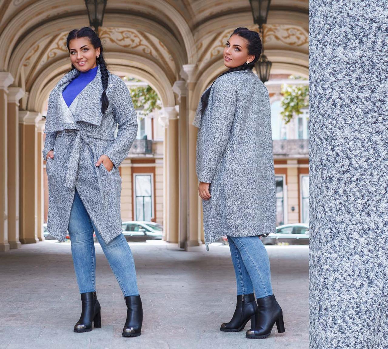 """Стильне жіноче пальто-кардиган у великих розмірах """"Букле Кути Кишеньки"""" в кольорах"""