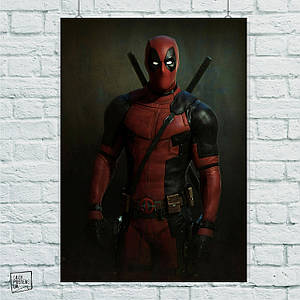 "Плакат ""Дэдпул, Deadpool, с мечом и с перевязью, на тёмном фоне"",Марвел. Размер 60x42см (A2). Глянцевая бумага"