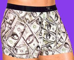 Мужские трусы  с приколом  в доллары