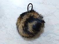 Помпон из меха кролика 8 см рябой