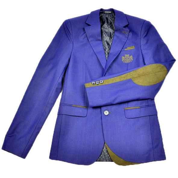 Школьный костюм синий в клеточку с коричневыми налокотниками, BOZER