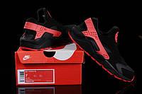 Женские кроссовки Nike Air Huarache black-red, фото 1