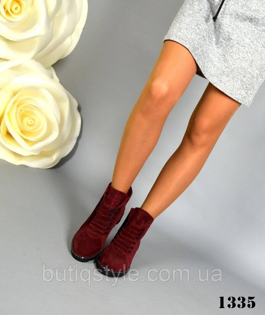 36 размер Женские ботинки  замш марсала со скрытой шнуровкой