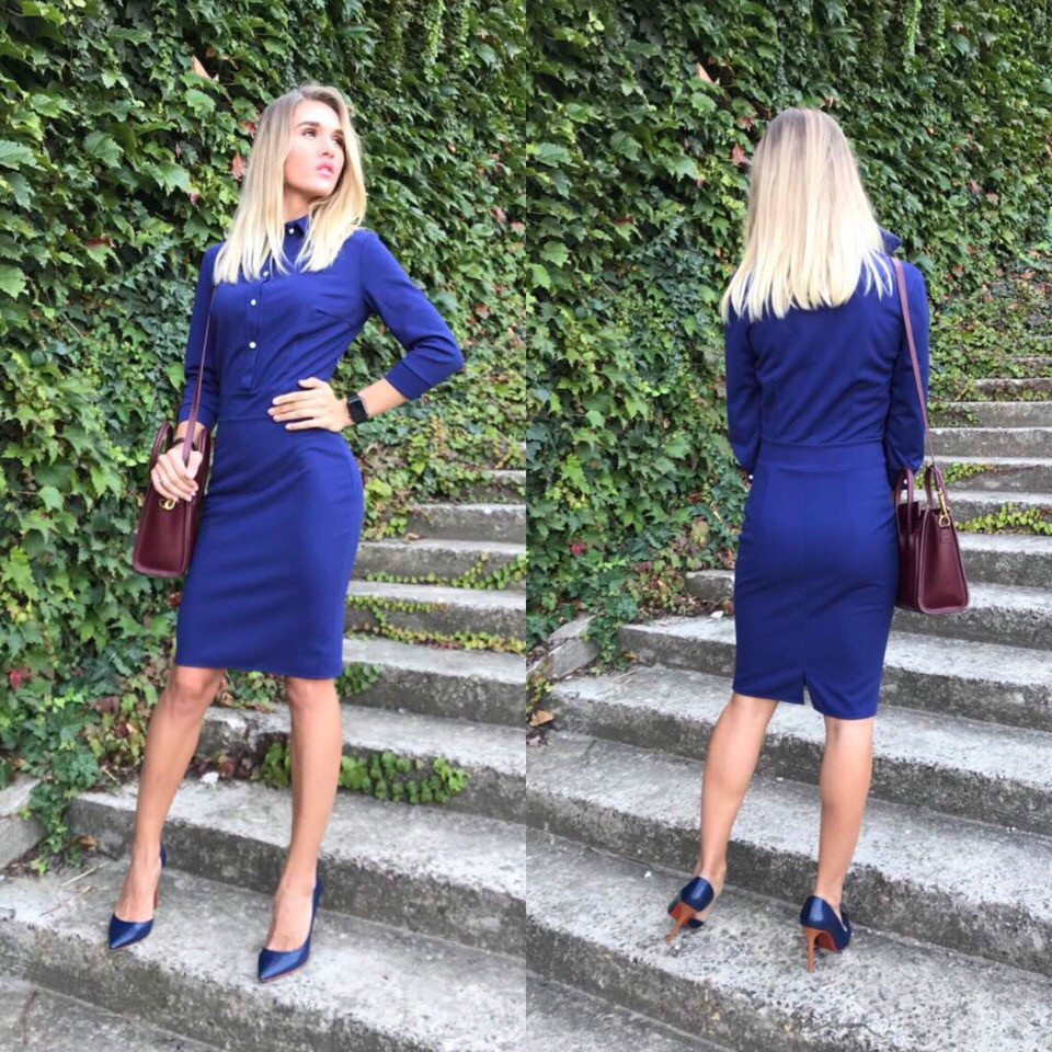 """Офисное платье-футляр по колено """"ROMIN"""" с четвертным рукавом (4 цвета)"""